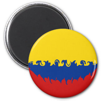 Colombia Gnarly Flag 6 Cm Round Magnet