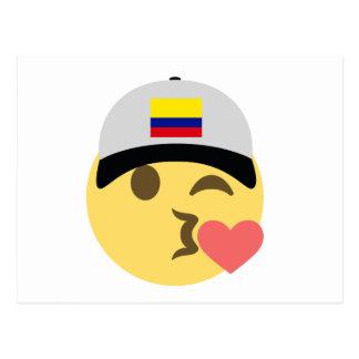 Colombia Hat Kiss Emoji Postcard