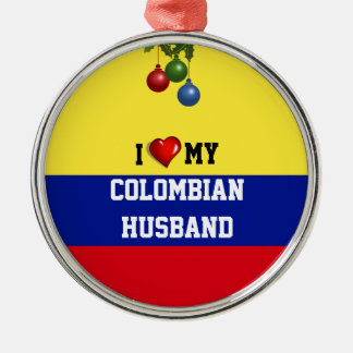 Colombia: I Love My Colombian Husband Silver-Colored Round Decoration