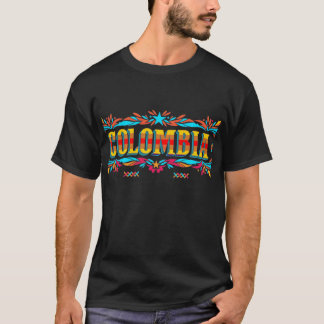Colombia in block letters colorful t-shirt