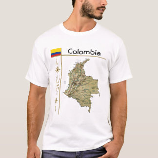 Colombia Map + Flag + Title T-Shirt