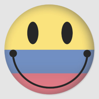Colombia Smiley Classic Round Sticker