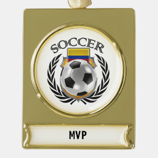 Colombia Soccer 2016 Fan Gear Gold Plated Banner Ornament