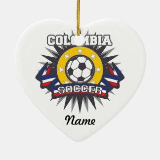Colombia Soccer Burst Ceramic Heart Decoration