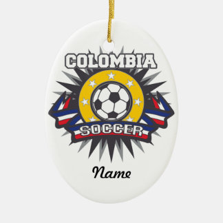 Colombia Soccer Burst Ceramic Oval Decoration