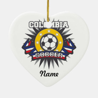 Colombia Soccer Burst Christmas Tree Ornament