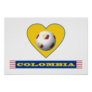 COLOMBIA SOCCER heart and National ball Team Poster