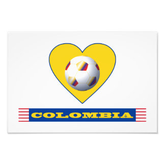 COLOMBIA SOCCER Yellow Heart National Team Photo Print