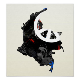 Colombia Trendy Peace Sign with Colombian map