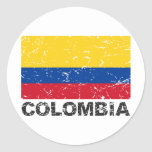 Colombia Vintage Flag Classic Round Sticker