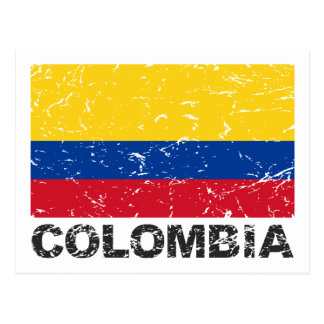 Colombia Vintage Flag Postcard