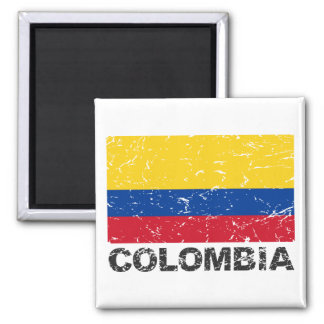 Colombia Vintage Flag Square Magnet