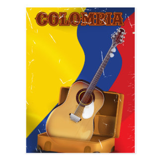 Colombia vintage vacation guitar poster postcard