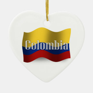 Colombia Waving Flag Christmas Ornament