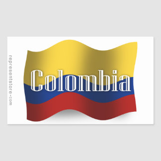 Colombia Waving Flag Rectangular Sticker