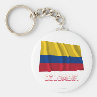 Colombia Waving Flag with Name Key Ring