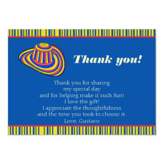 Colombian Adult Striped Hat Thank You Card 13 Cm X 18 Cm Invitation Card