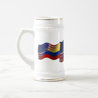 Colombian-American Waving Flag Beer Stein
