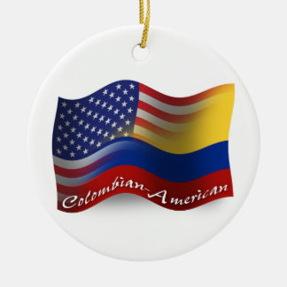 Colombian-American Waving Flag Christmas Ornament