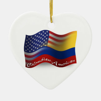 Colombian-American Waving Flag Double-Sided Heart Ceramic Christmas Ornament