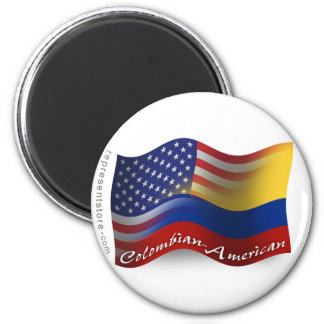 Colombian-American Waving Flag Magnet