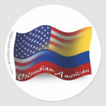 Colombian-American Waving Flag Round Sticker