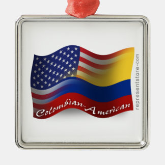 Colombian-American Waving Flag Silver-Colored Square Decoration