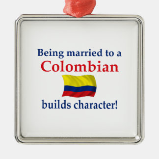 Colombian Builds Character Silver-Colored Square Decoration