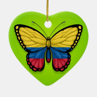 Colombian Butterfly Flag on Green Ceramic Heart Decoration