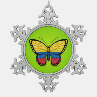Colombian Butterfly Flag on Green Snowflake Pewter Christmas Ornament