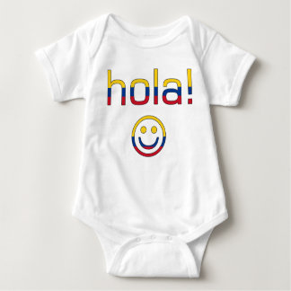 Colombian Gifts : Hello / Hola + Smiley Face Baby Bodysuit