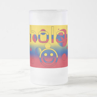 Colombian Gifts : Hello / Hola + Smiley Face Frosted Glass Mug