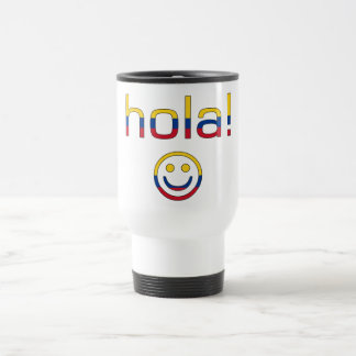 Colombian Gifts : Hello / Hola + Smiley Face Stainless Steel Travel Mug