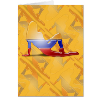 Colombian Girl Silhouette Flag Greeting Card