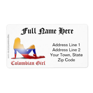Colombian Girl Silhouette Flag Shipping Label