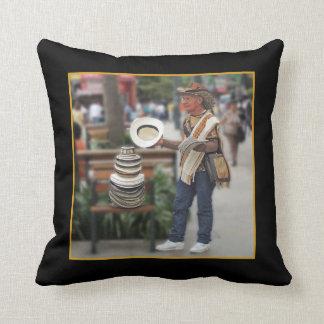 Colombian Hat Vendor Customizable Text Throw Pillow