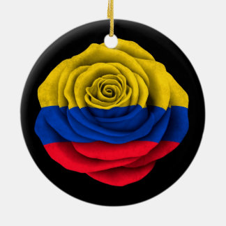 Colombian Rose Flag on Black Christmas Ornament