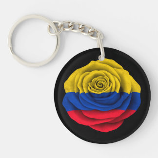 Colombian Rose Flag on Black Double-Sided Round Acrylic Key Ring