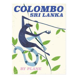 Colombo Sri Lanka vintage style travel poster Postcard