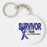 Colon Cancer 1 Year Survivor Basic Round Button Key Ring