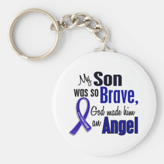 Colon Cancer ANGEL 1 Son Basic Round Button Key Ring