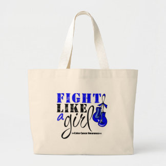 Colon Cancer Awareness Fight Like a Girl Tote Bag