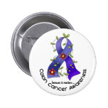 Colon Cancer Awareness FLOWER RIBBON 1 Buttons