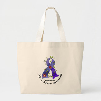 Colon Cancer Awareness FLOWER RIBBON 1 Tote Bags