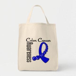 Colon Cancer Awareness Gemstone Ribbon Canvas Bag