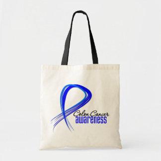Colon Cancer Awareness Grunge Ribbon Canvas Bag