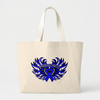 Colon Cancer Awareness Heart Wings png Canvas Bags