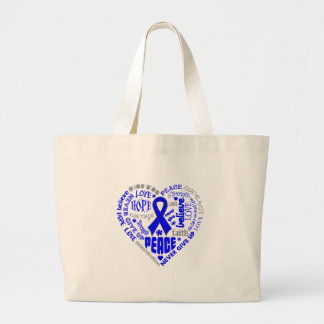 Colon Cancer Awareness Heart Words Bags