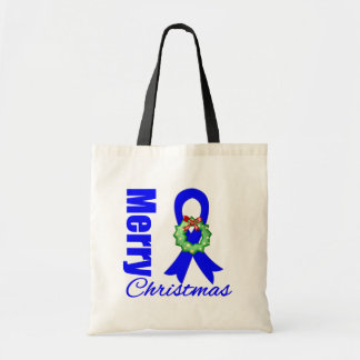 Colon Cancer Awareness Merry Christmas Ribbon Canvas Bags