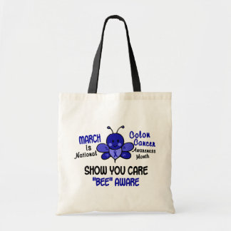 Colon Cancer Awareness Month Bee 1.1 Tote Bags